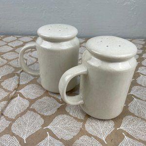 Williams Sonoma Ceramic Antique White Salt Pepper